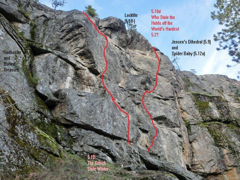South facing wall at the East-most climbing walls at Laclede