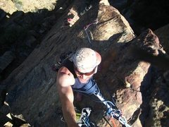 Rock Climbing Photo: From the summit looking down at the route. It foll...