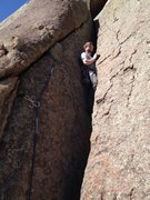 Rock Climbing Photo: This is where the crack starts to slim down enough...