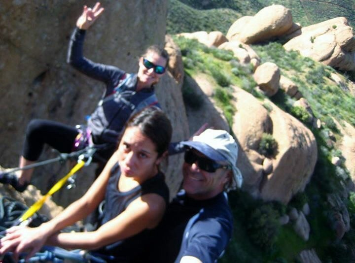 Natalie, Mona and Chad at the belay on Tethys.