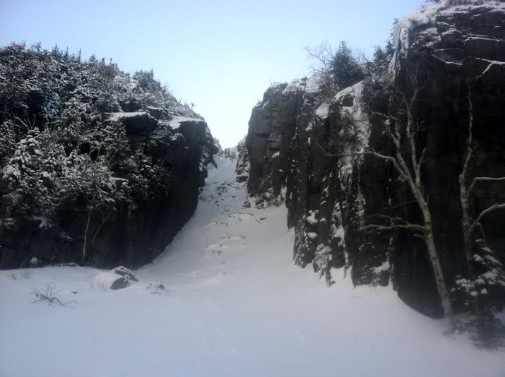Trap Dyke in March 2015, Heavy snow in the dyke and was fairly strenuous. The two ice pitches were in great condition however.