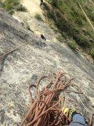 Rock Climbing Photo: looking down P1 of Potholes