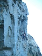 Rock Climbing Photo: Jeff Constine clipping just before passing the ove...
