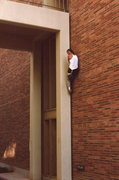 Rock Climbing Photo: Perfect hand crack, some ally on campus, 1983...go...