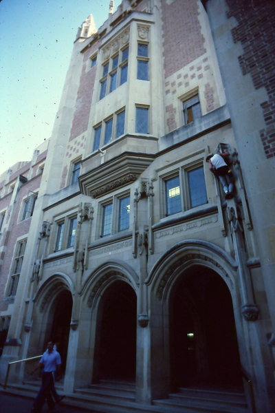 5.9(X) Up/Down Climb...Ackerman Union Building. NEVER DO THIS!! WAAAAAY Illegal & super obvious. 1983
