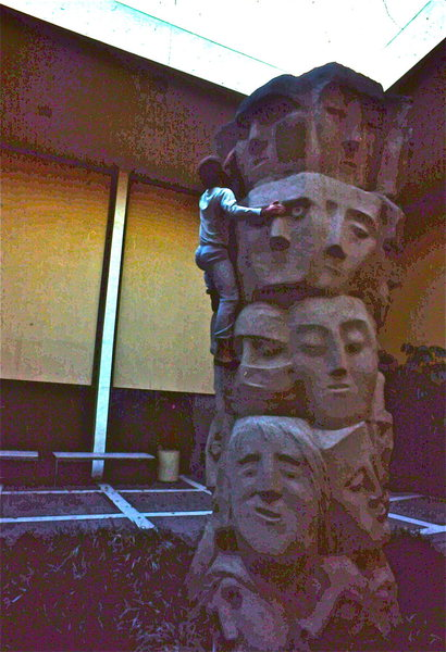 """Face Climb"", Tower of Masks, Theater/Film Building, N. Campus. Many routes. Sinker hole on top, so find it to summit. 1983"