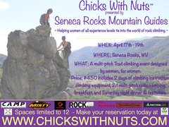 A women's only multi-pitch Trad climbing event in Seneca Rocks, WV.