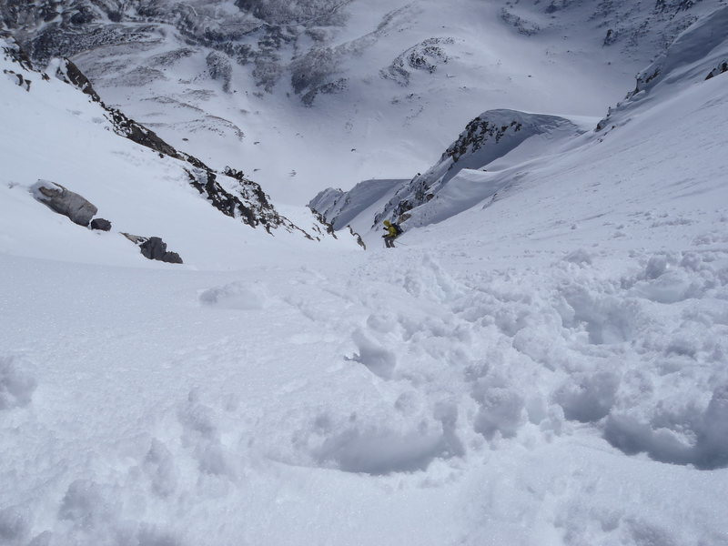 Looking down Dead Dog Couloir prior to ski descent