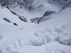 Rock Climbing Photo: Looking down Dead Dog Couloir prior to ski descent