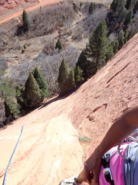 View down Mo'Verde from belay anchors.