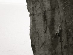 Rock Climbing Photo: A fantastic, obvious route towering over Lake Supe...