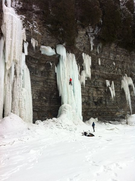 "Rock Climbing Photo: ""Le Tube"" (WI5, 30m)  Jesse leading the ..."