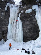 "Rock Climbing Photo: ""Valentin"" (WI5+, 30m)  Jesse leading Va..."