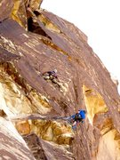 Rock Climbing Photo: Joe departing on the second pitch. Photo by Patric...