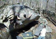 Rock Climbing Photo: Metzman working the traverse on Fontainzoo