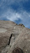 Rock Climbing Photo: Brian Sims taking off on Pitch 1. Next to pitch 5,...