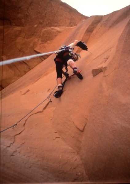 Rock Climbing Photo: Paul Ross escaping the overhangs . Second Pitch