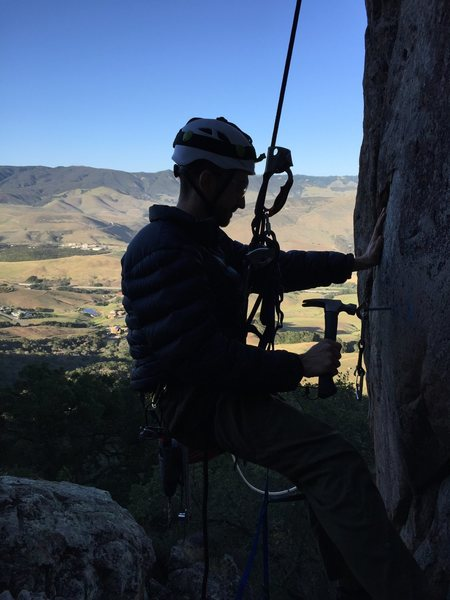 Rock Climbing Photo: Bolt replacement work (3/2015)