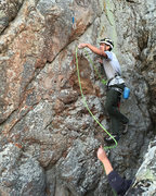 Rock Climbing Photo: 11a/b lower section. Step up high, clip Bolt 1 and...