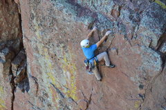 Rock Climbing Photo: Getting to the ledge on the top of P1.  Photo by N...