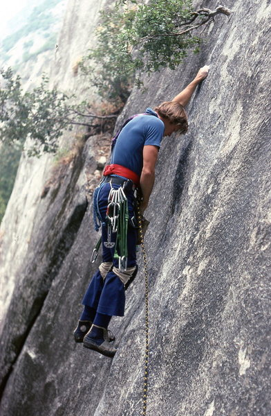 Rock Climbing Photo: Peter Hayes leading Lazy Bum when it still had the...