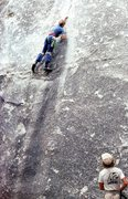 Rock Climbing Photo: Peter heading up into the business on Lazy Bum, 19...