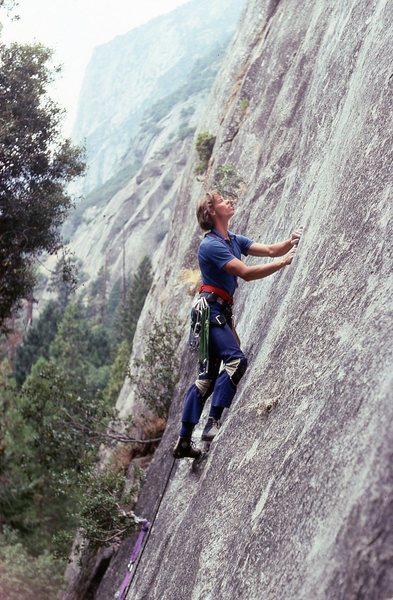 Hayes gathering the mustard to get to the one rest, 25 feet up ahead. 1980