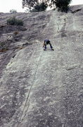 Rock Climbing Photo: Peter on the final moves of the crux layback...198...