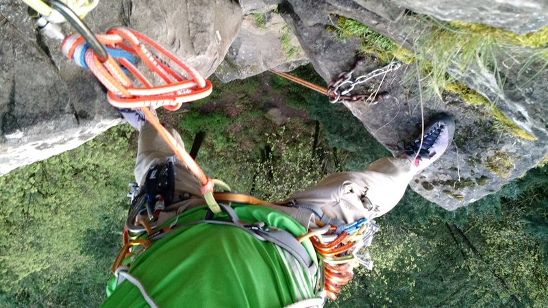 Interesting POV from our makeshift belay stance atop P3.