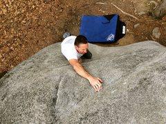Rock Climbing Photo: Scott on Waves in Motion, Boat Rock, GA.