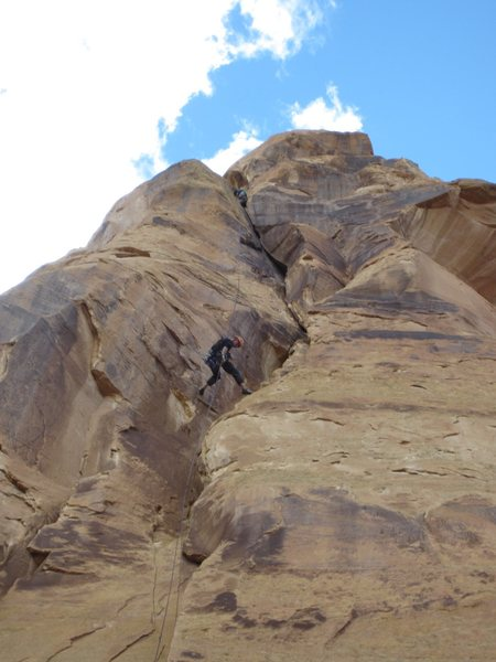 Rock Climbing Photo: Looking up Swiss Gentleman after the rap.