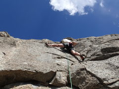 Rock Climbing Photo: Climber above the crux on The Direct Route.