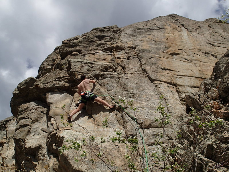 "Rock Climbing Photo: Climber near the start of ""No Exit"""