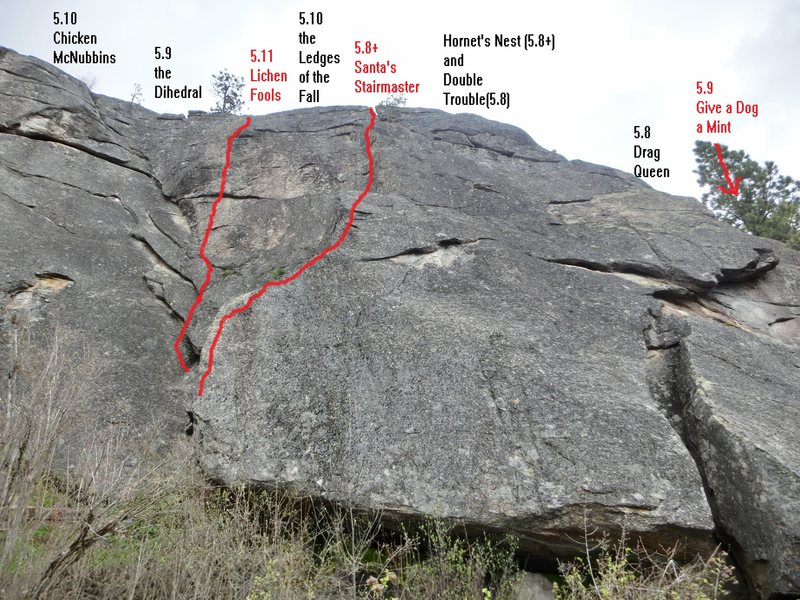 Rock Climbing Photo: Overview picture of the right side of the upper ma...