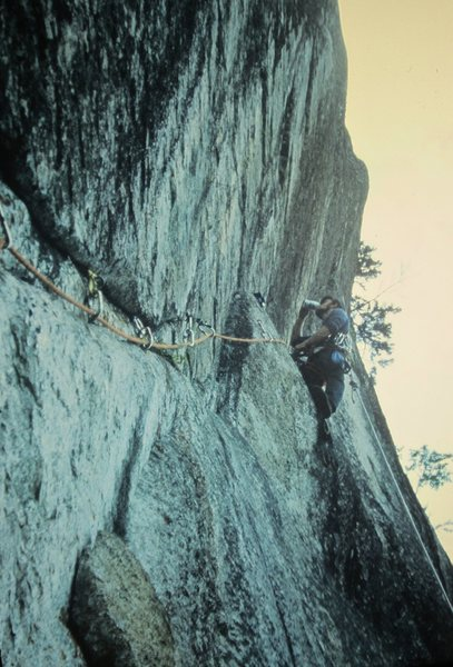 P.Ross on FA The Warlock.P3. Cathedral Ledge 1972.Beer Break.