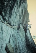Rock Climbing Photo: P.Ross on FA The Warlock.P3. Cathedral Ledge 1972....