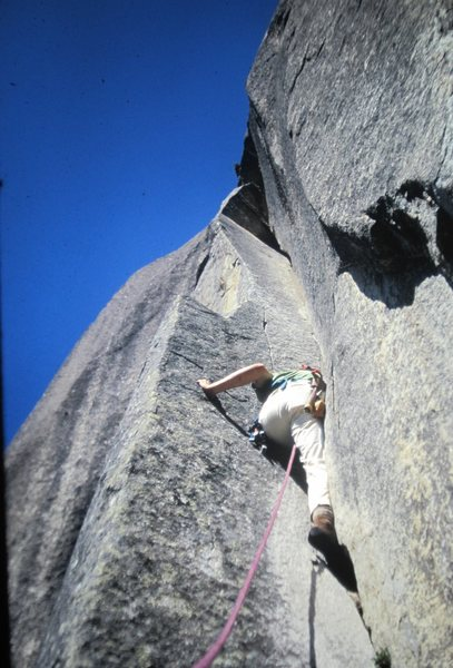 Henry Barber 1973.. (Note piton hammer)and I followed this my first route in Yosemite