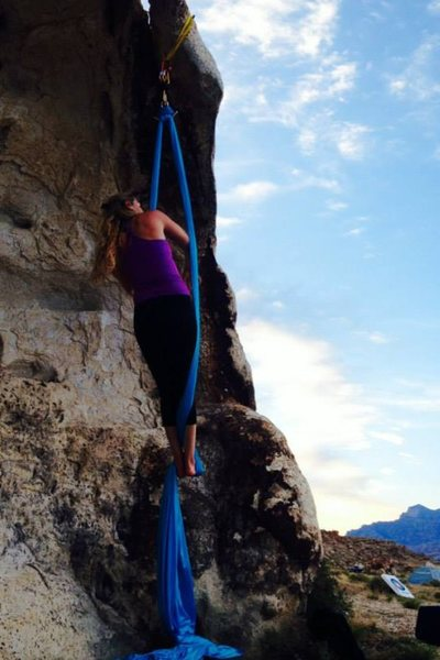 Suzy Williams on a Rest Day in Ibex. Aerial Yoga is easily set up on this boulder with some webbing!