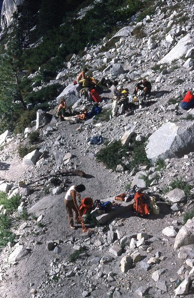 Rock Climbing Photo: The line of four parties at the base, fall, 1980.