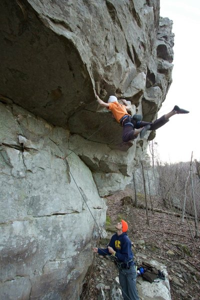 Rock Climbing Photo: Holding the roof swing