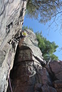 Rock Climbing Photo: Mike Sohasky leading Birthday Crack on the first S...
