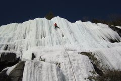 &quot;Baltique&quot; (WI4 to WI5, 45m) <br /> <br />Nils leading Baltique on a sunny day. <br />Picture: J. Colangelo-Lillis