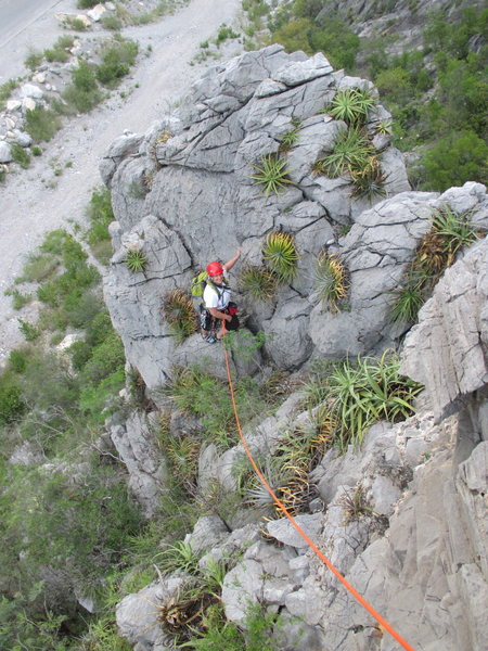 Sara Rider on the first pitch. Photo taken from the anchors at the top of Baad Monkey.
