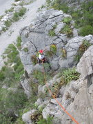 Rock Climbing Photo: Sara Rider on the first pitch. Photo taken from th...