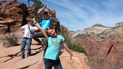 Rock Climbing Photo: Steve and the girls at Angel's Landing Zion. Sprin...