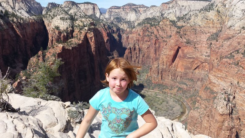 Ava at Angel's Landing Zion. Moonlight Buttress and Spaceshot in background. Spring Break 2015.