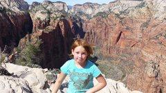 Rock Climbing Photo: Ava at Angel's Landing Zion. Moonlight Buttress an...