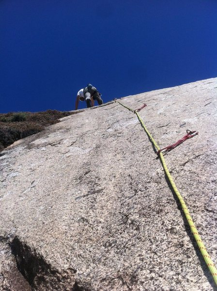 Left most climb crux is low and well protected.