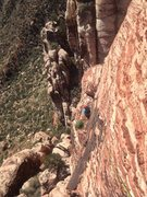 Rock Climbing Photo: Looking back at the sweet ledge from partway up th...
