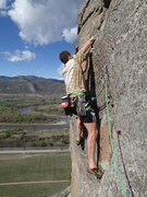 """Rock Climbing Photo: Eli stepping out for the exciting start of """"O..."""